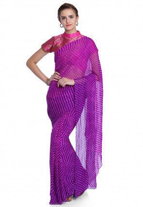 Pure Georgette Leheriya Saree in Purple