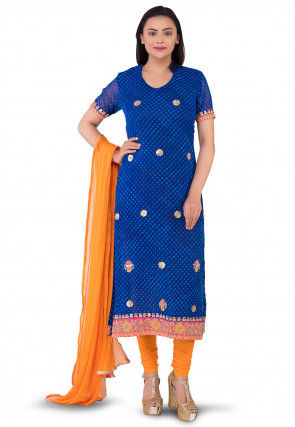 Pure Georgette Leheriya Straight Suit in Navy Blue