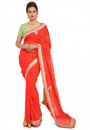Pure Georgette Saree in Orange