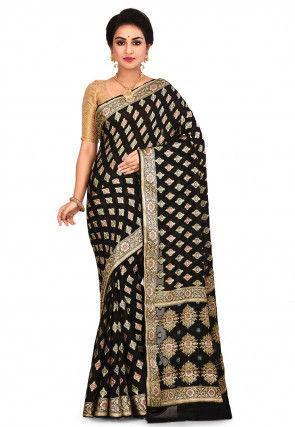Pure Georgette Silk Banarasi Saree in Black