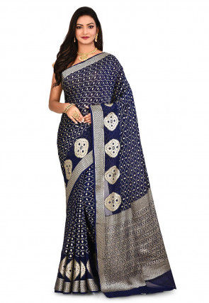 Pure Georgette Silk Banarasi Saree in Navy Blue