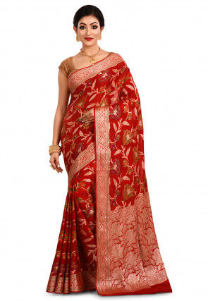 Pure Georgette Silk Banarasi Saree in Red