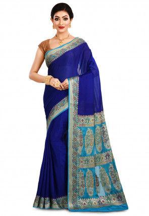 Pure Georgette Silk Banarasi Saree in Royal Blue