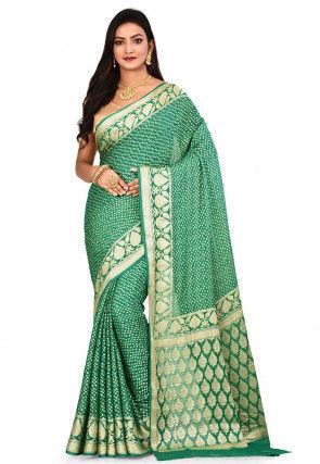 Pure Georgette Silk Banarasi Saree in Teal Green
