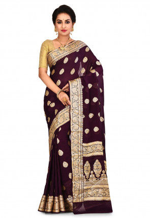 Pure Georgette Silk Banarasi Saree in Wine