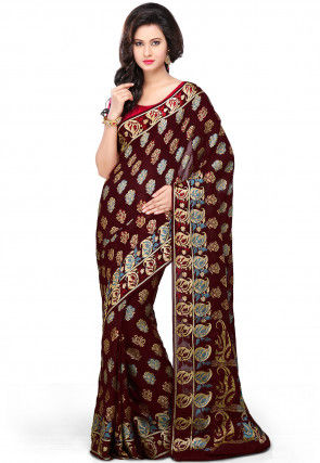 Pure Georgette Silk Saree in Maroon