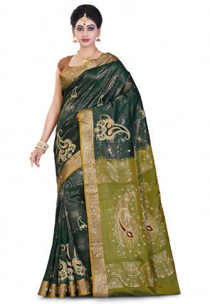 Pure Kanchipuram Silk Hand Embroidered Saree in Dark Green