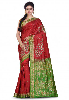 Pure Kanchipuram Silk Hand Embroidered Saree in Maroon