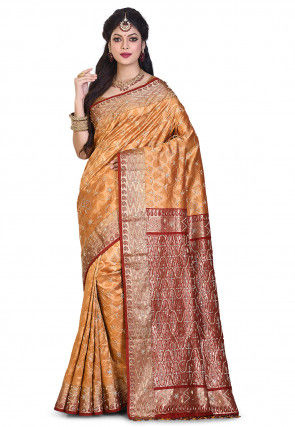 Pure Kanchipuram Silk Hand Embroidered Saree in Mustard