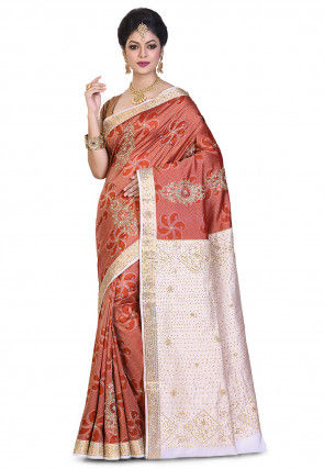 Pure Kanchipuram Silk Hand Embroidered Saree in Off White