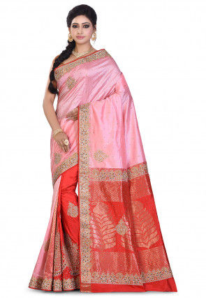 Pure Kanchipuram Silk Hand Embroidered Saree in Pink