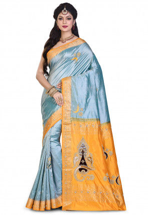 Pure Kanchipuram Silk Hand Embroidered Saree in Sea Green