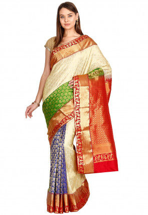 Pure Kanchipuram Silk Handloom Saree in Beige and Multicolor