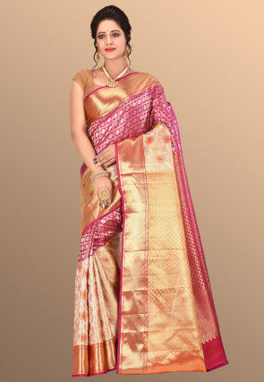 Pure Kanchipuram Silk Handloom Saree in Fuchsia