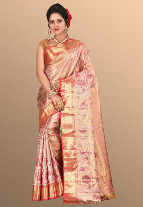 Pure Kanchipuram Silk Handloom Saree in Golden and Pink