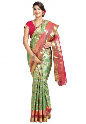 Pure Kanchipuram Silk Handloom Saree in Light Green and Golden