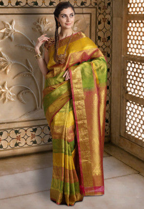 Pure Kanchipuram Silk Handloom Saree in Multicolor