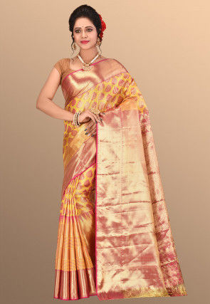 Pure Kanchipuram Silk Handloom Saree in Mustard