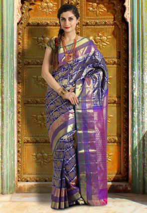 Pure Kanchipuram Silk Handloom Saree in Navy Blue and Golden
