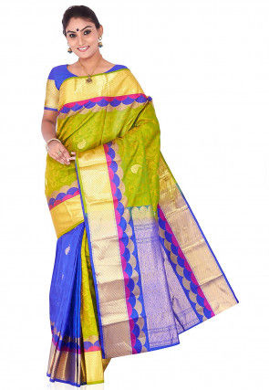 Pure Kanchipuram Silk Handloom Saree in Olive Green and Blue