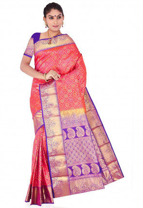 Pure Kanchipuram Silk Handloom Saree in Peach