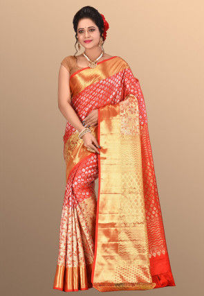 Pure Kanchipuram Silk Handloom Saree in Red