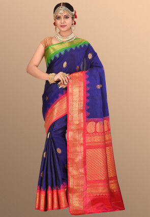 Pure Kanchipuram Silk Handloom Saree in Royal Blue