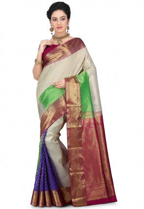 Pure Kanchipuram Silk Handloom Saree in White and Multicolor