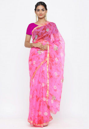 Pure Kota Silk Bandhej Gota Patti Saree in Pink