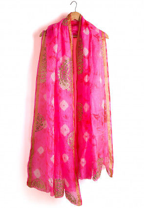 Pure Kota Silk Tie Dyed Dupatta in Pink