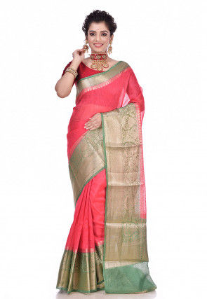 Pure Linen Banarasi Saree in Dark Peach