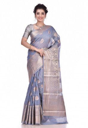 Pure Linen Banarasi Saree in Grey