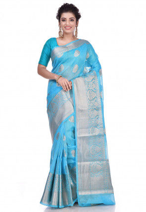 Pure Linen Banarasi Saree in Turquoise