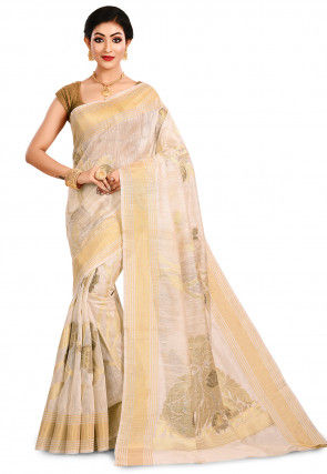 Pure Matka Silk Banarasi Saree in White