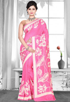 Pure Matka Silk Bengal Handloom Batik Saree in Pink