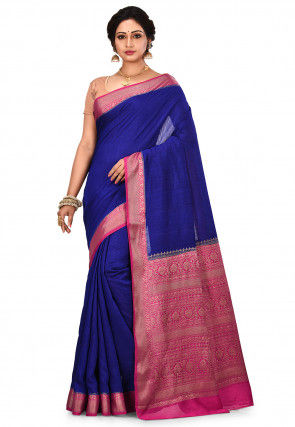 Pure Muga Silk Banarasi Saree in Royal Blue