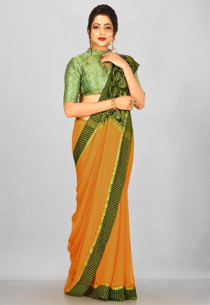 Pure Mysore Chiffon Silk Woven Saree in Brown