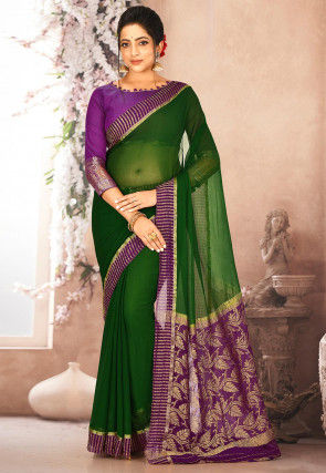 Pure Mysore Chiffon Silk Woven Saree in Dark Green