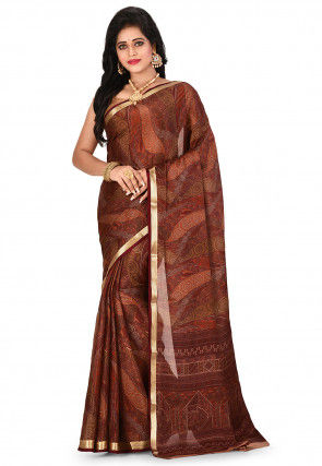 Pure Mysore Crepe Silk Printed Saree in Beige and Brown
