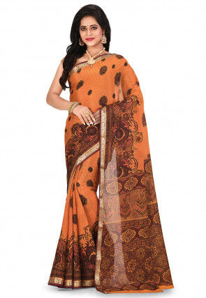 Pure Mysore Crepe Silk Printed Saree in Beige and Red