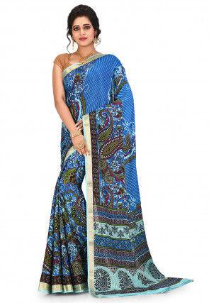 Pure Mysore Crepe Silk Printed Saree in Blue