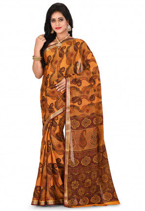 Pure Mysore Crepe Silk Printed Saree in Brown