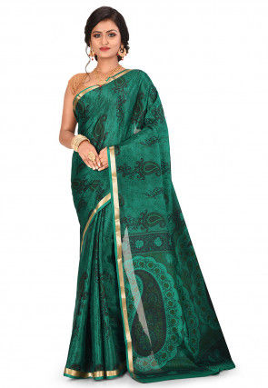 Pure Mysore Crepe Silk Printed Saree in Dark Green