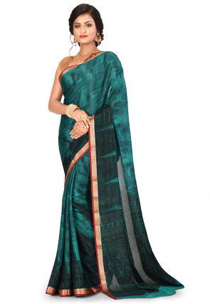 Pure Mysore Crepe Silk Printed Saree in Dark Teal Green