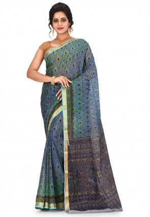 Pure Mysore Crepe Silk Printed Saree in Green and Blue