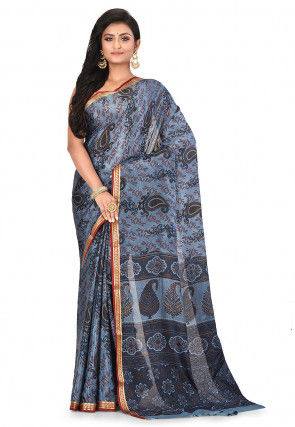 Pure Mysore Crepe Silk Printed Saree in Grey