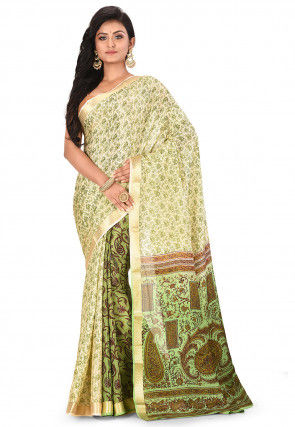 Pure Mysore Crepe Silk Printed Saree in Light Beige and Green