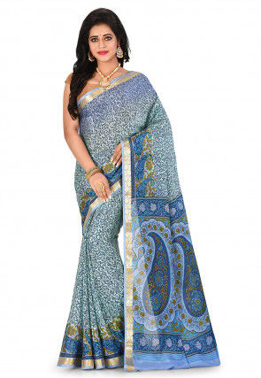 Pure Mysore Crepe Silk Printed Saree in Light Turquoise