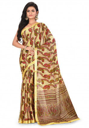 Pure Mysore Crepe Silk Printed Saree in Light Yellow