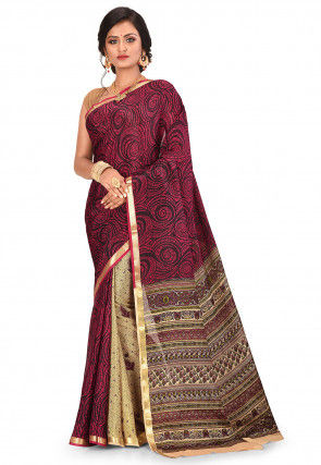 Pure Mysore Crepe Silk Printed Saree in Maroon and Beige